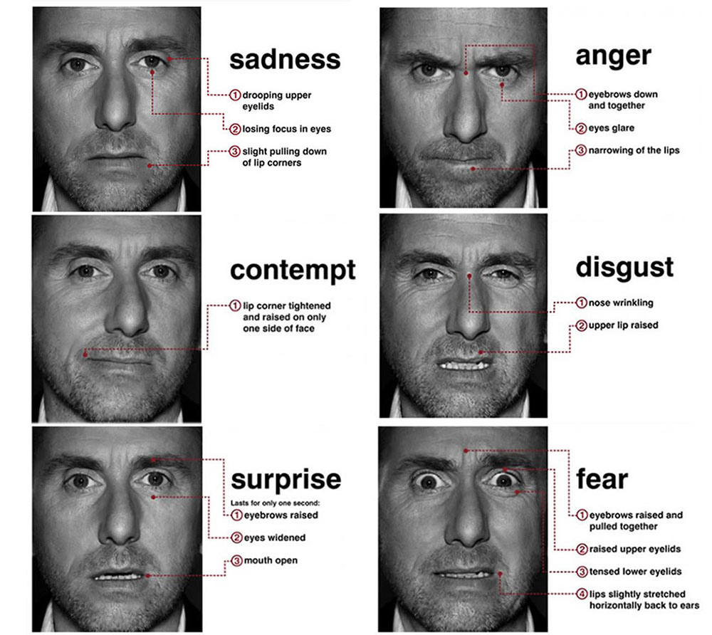 Actor Tim Roth portraying facial expressions, and their explanation