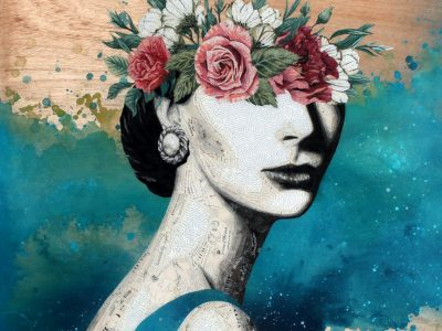 Featured Image for Rolland Viau's Theory of Motivation - Collage Artwork depicting a Woman with flowers over her eyes representing motivation