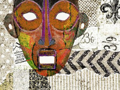 Featured Image for Overcome Impostor Syndrome - Wahusika Art Collage depicting a kinwya mask with a panicked expression