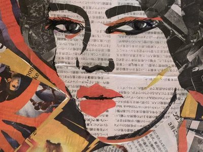 Featured Image for Albert Bandura's Concept of Self-efficacy - Abstract Artwork depicting a woman's face made out of Chinese newspapers