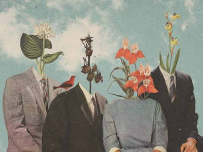 Featured Image for Attribution Theory and Motivation - Artwork depicting a group of people with flowers instead of heads