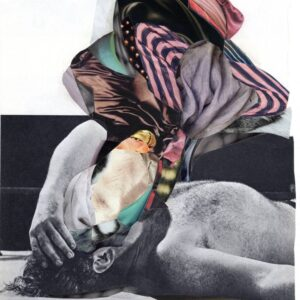 Contact Page Image - Collage Artwork depicting a man laying down who has colourful pieces of cloth over his face