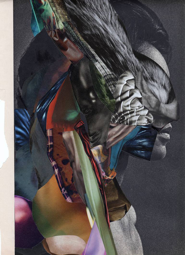 Homepage Image - Collage Artwork depicting a woman covered by layers of different materials and colours