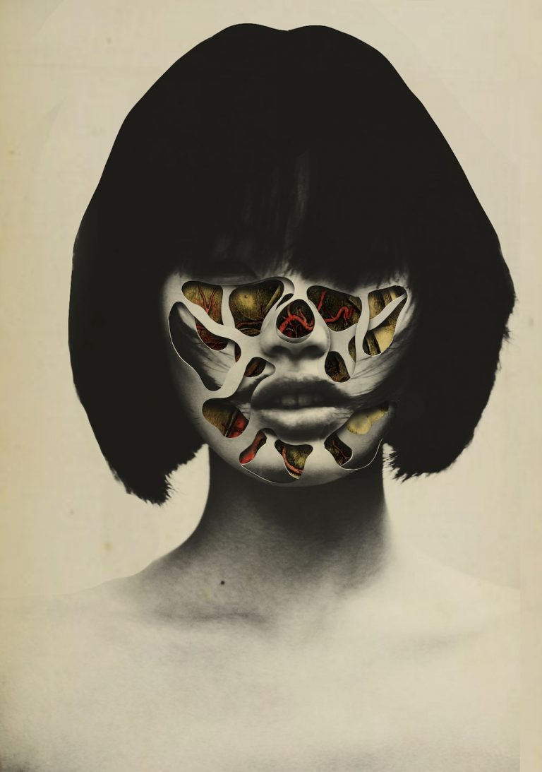 Featured Image for Paul Ekman's Theory of Emotions - Collage Artwork depicting a woman's face covered with holes that contain coloured emotions