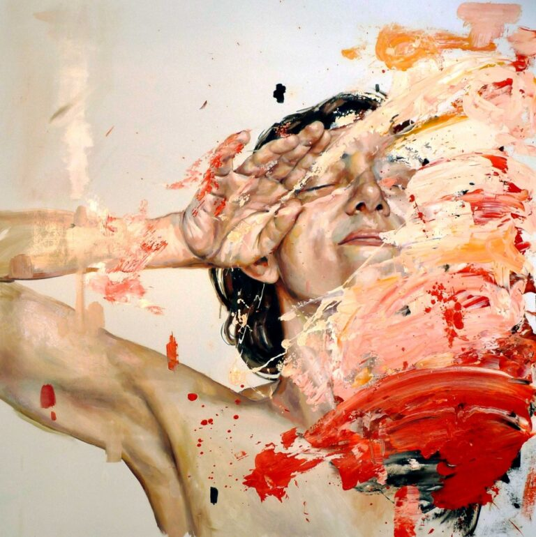 Openness vs. closedness to experience - The Big Five Personality Traits, abstract painting of a woman with her face covered in paint