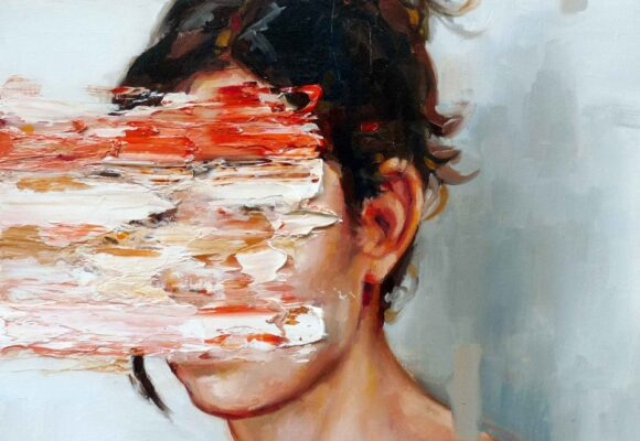 Agreeableness - The Big Five Personality Traits, abstract painting of a woman with her face covered in paint