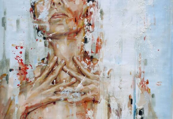Extraversion vs. introversion - The Big Five Personality Traits, abstract painting of a woman with her face covered in paint